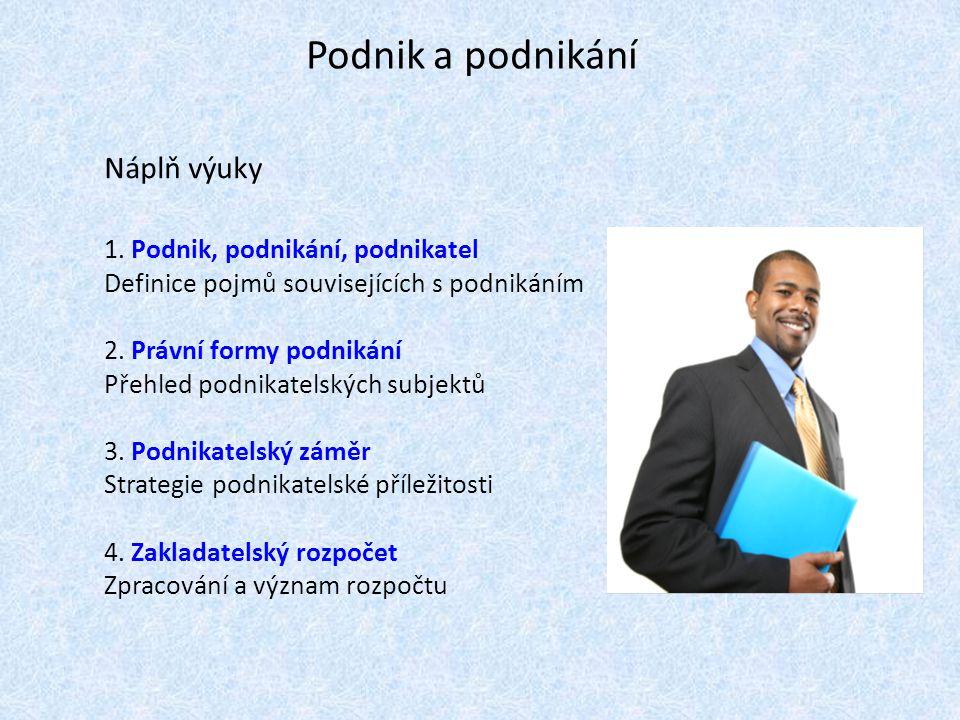 Podnik a podnikání Náplň výuky 1. Podnik, podnikání, podnikatel