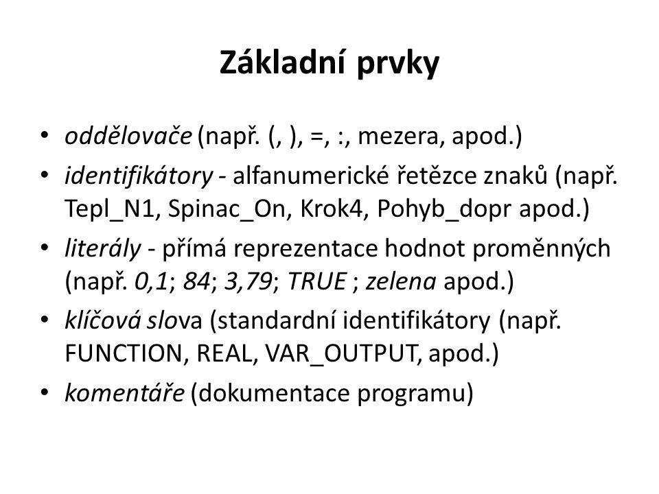 Základní prvky oddělovače (např. (, ), =, :, mezera, apod.)