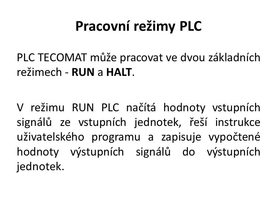 Pracovní režimy PLC PLC TECOMAT může pracovat ve dvou základních režimech - RUN a HALT.