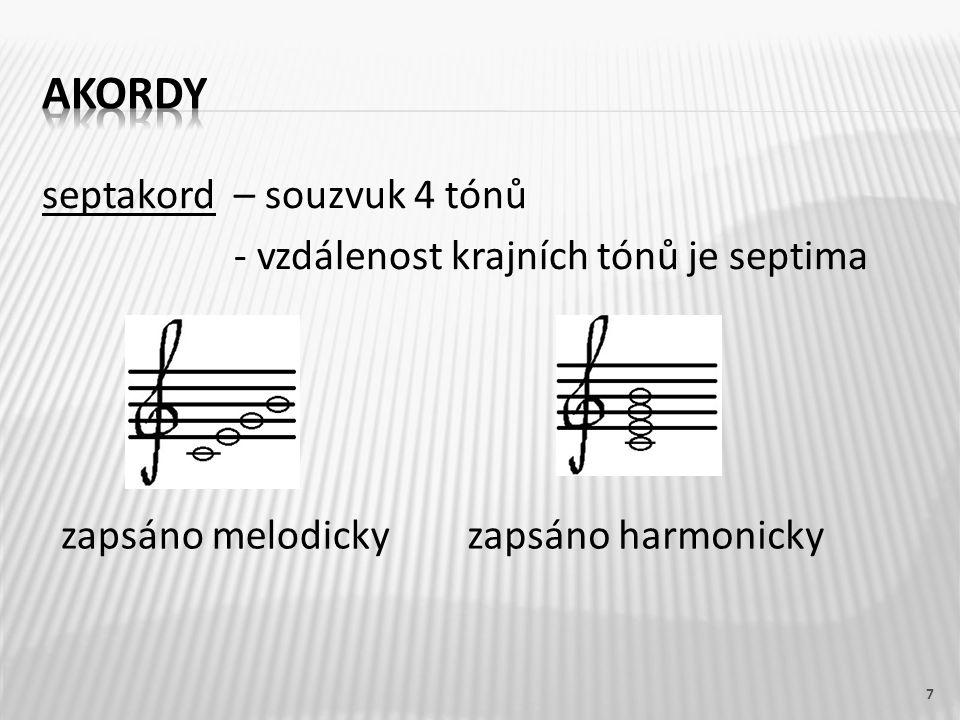akordy septakord – souzvuk 4 tónů - vzdálenost krajních tónů je septima zapsáno melodicky.