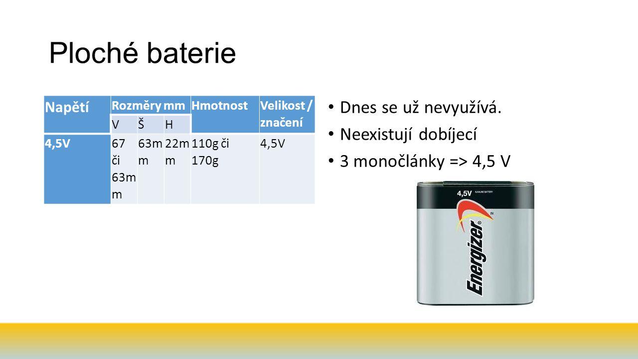 Ploché baterie Dnes se už nevyužívá. Neexistují dobíjecí