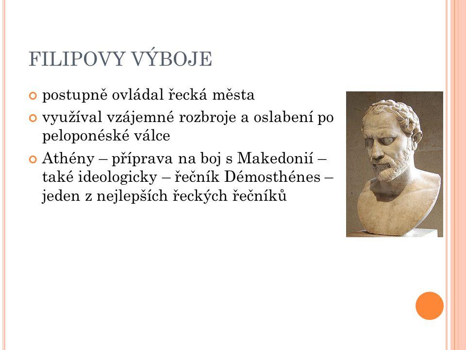 FILIPOVY VÝBOJE postupně ovládal řecká města