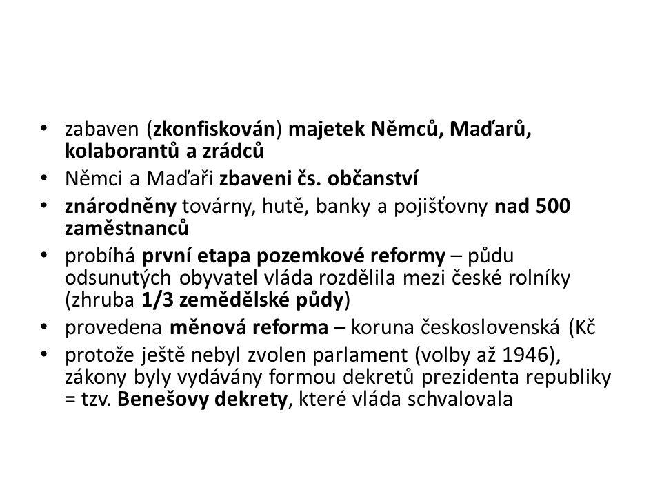 zabaven (zkonfiskován) majetek Němců, Maďarů, kolaborantů a zrádců