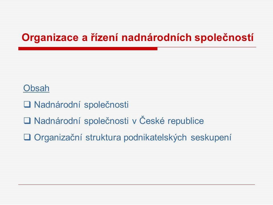 Organizace a řízení nadnárodních společností