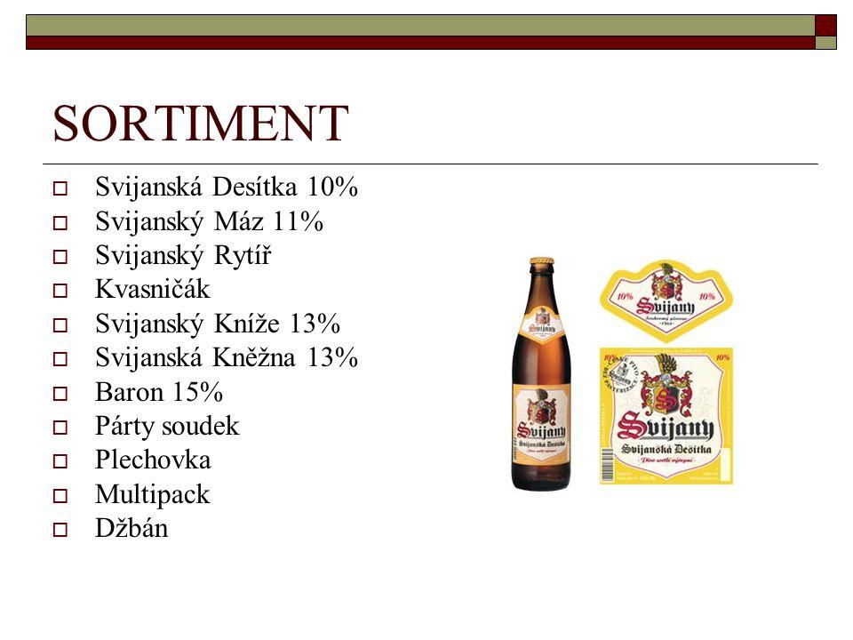 SORTIMENT Svijanská Desítka 10% Svijanský Máz 11% Svijanský Rytíř