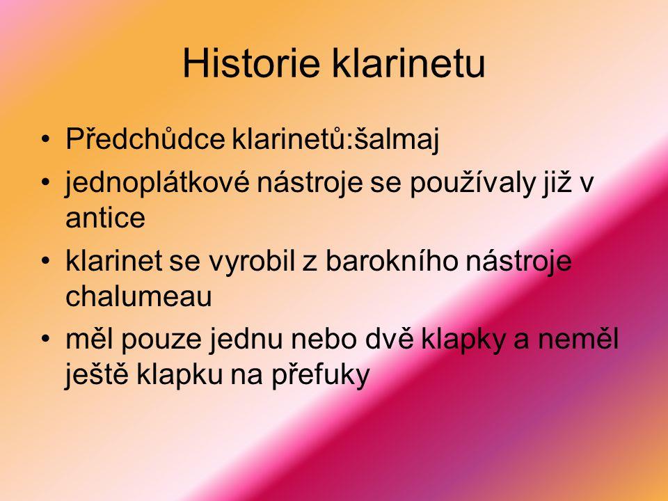 Historie klarinetu Předchůdce klarinetů:šalmaj