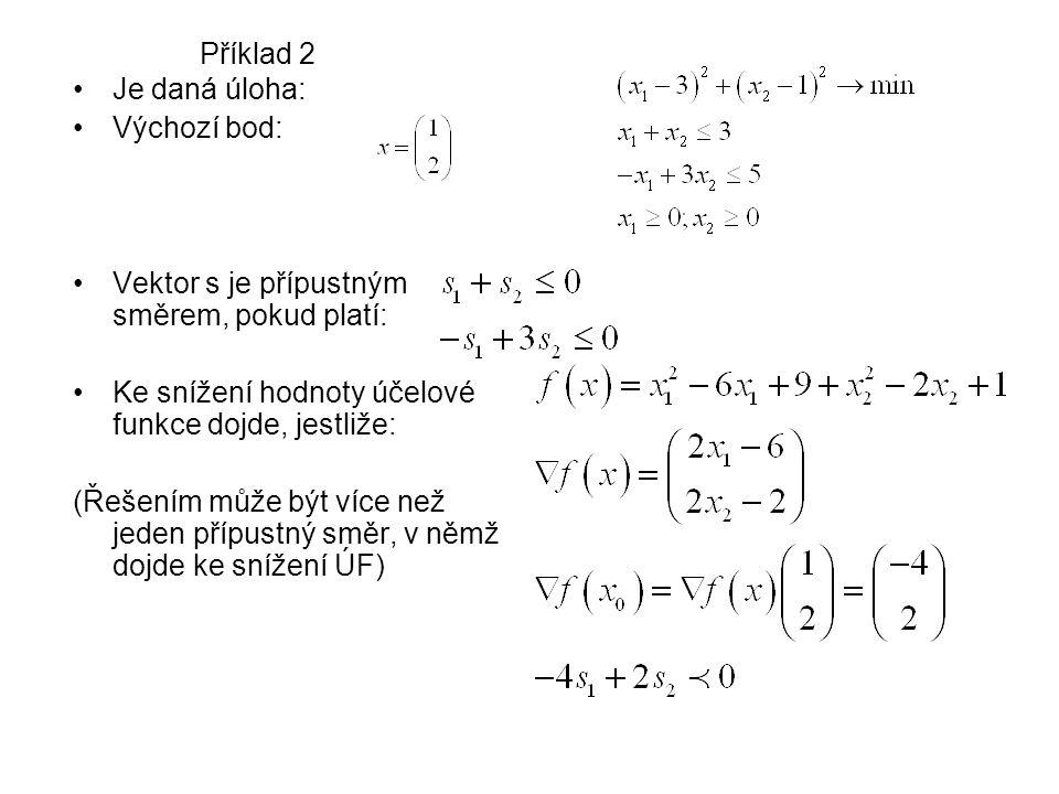 Příklad 2 Je daná úloha: Výchozí bod: Vektor s je přípustným směrem, pokud platí: Ke snížení hodnoty účelové funkce dojde, jestliže: