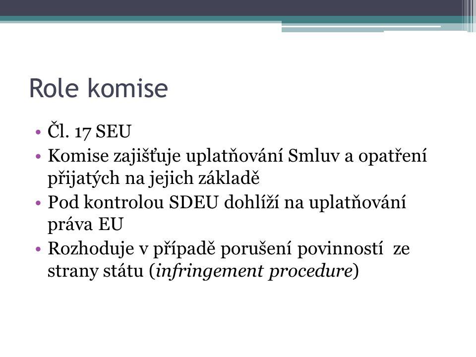 Role komise Čl. 17 SEU. Komise zajišťuje uplatňování Smluv a opatření přijatých na jejich základě.