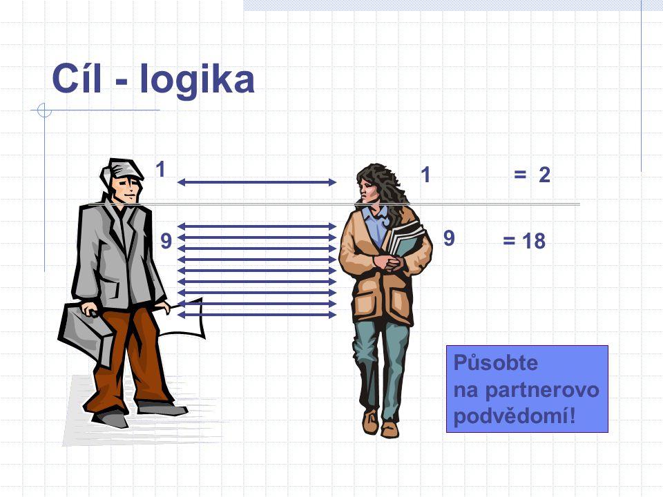 Cíl - logika 1 1 = 2 9 9 = 18 Působte na partnerovo podvědomí!