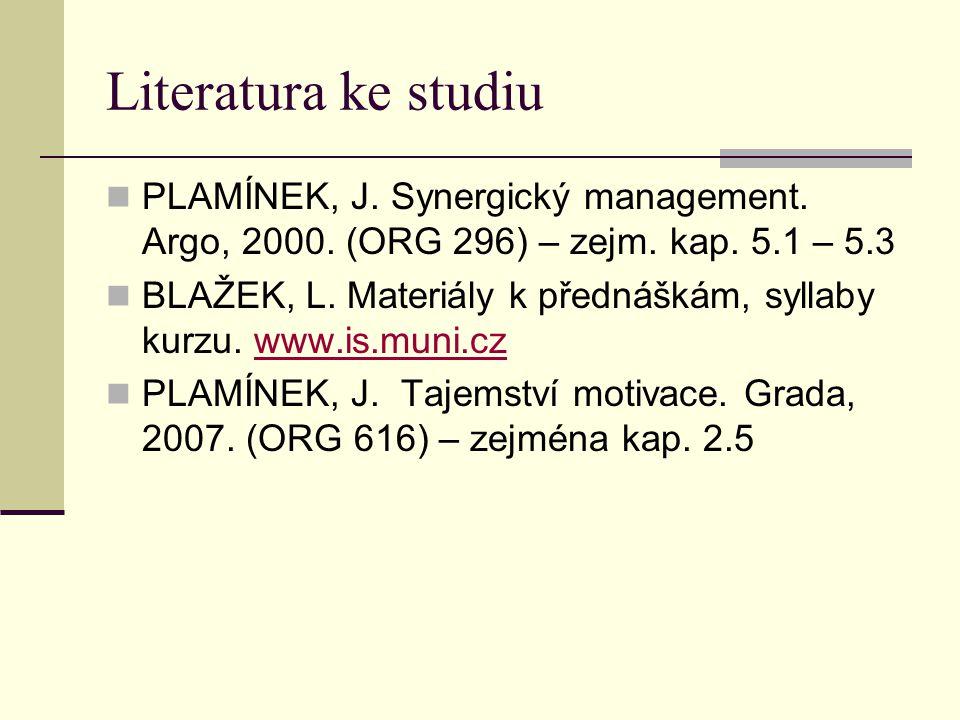 Literatura ke studiu PLAMÍNEK, J. Synergický management. Argo, 2000. (ORG 296) – zejm. kap. 5.1 – 5.3.