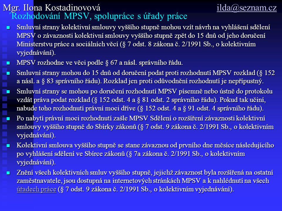 ´Rozhodování MPSV, spolupráce s úřady práce