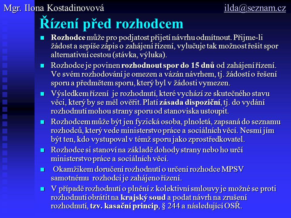 Řízení před rozhodcem Mgr. Ilona Kostadinovová ilda@seznam.cz