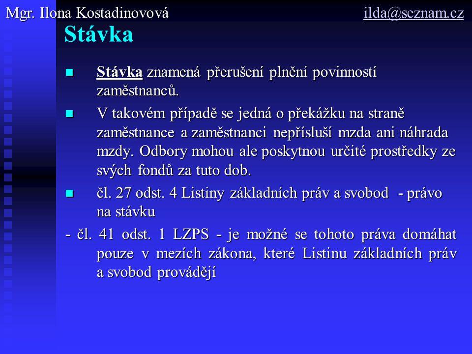 Stávka Mgr. Ilona Kostadinovová ilda@seznam.cz