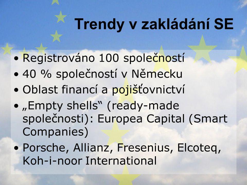 Trendy v zakládání SE Registrováno 100 společností