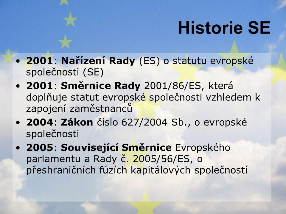 Historie SE 2001: Nařízení Rady (ES) o statutu evropské společnosti (SE)