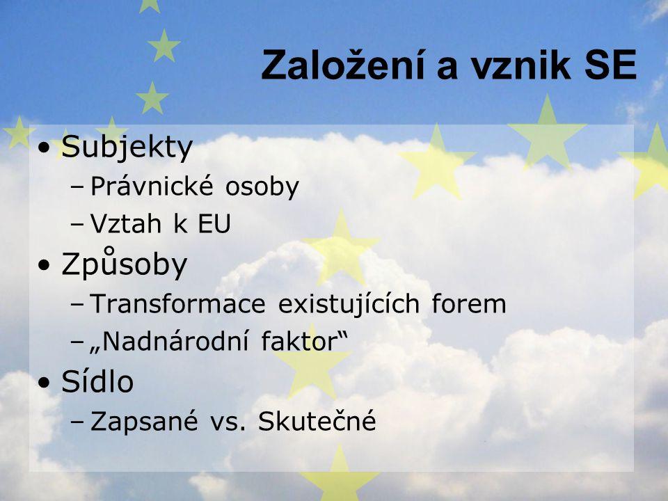 Založení a vznik SE Subjekty Způsoby Sídlo Právnické osoby Vztah k EU