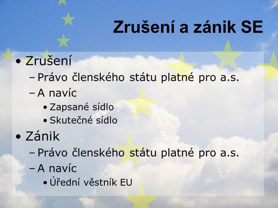 Zrušení a zánik SE Zrušení Zánik Právo členského státu platné pro a.s.