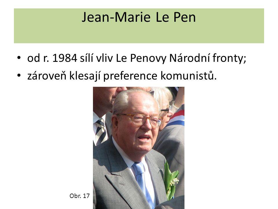Jean-Marie Le Pen od r. 1984 sílí vliv Le Penovy Národní fronty;