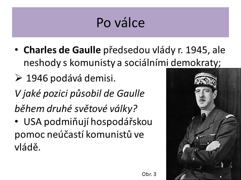 Po válce Charles de Gaulle předsedou vlády r. 1945, ale neshody s komunisty a sociálními demokraty;