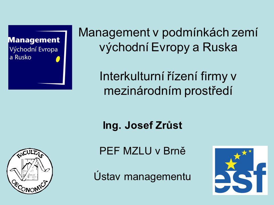Ing. Josef Zrůst PEF MZLU v Brně Ústav managementu