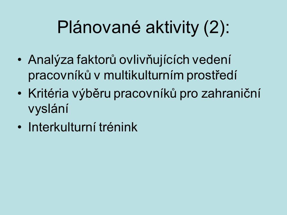 Plánované aktivity (2):