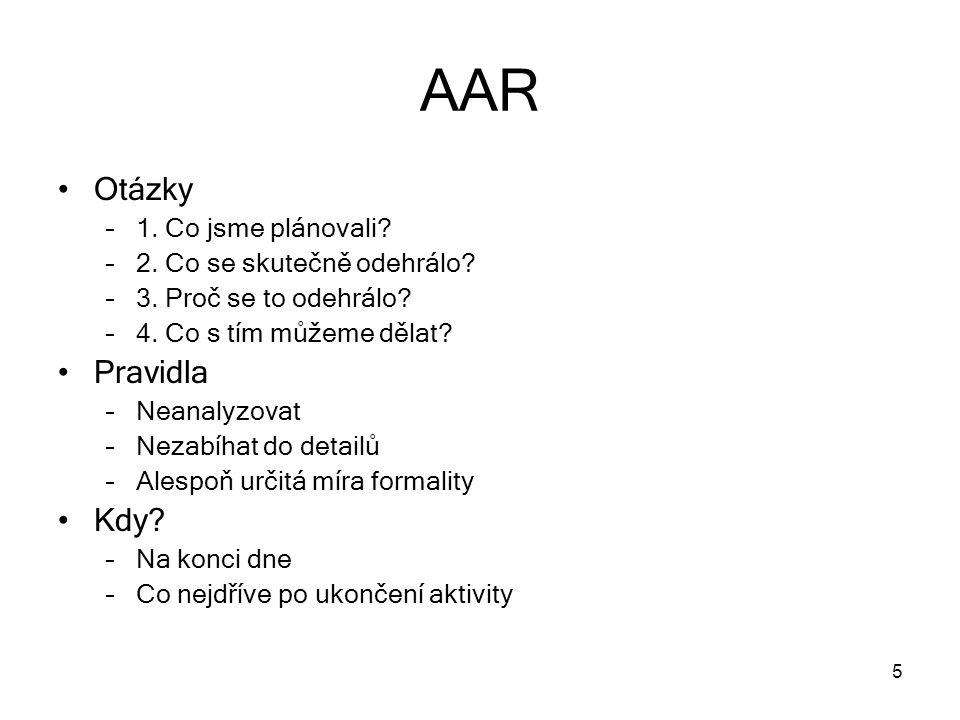 AAR Otázky Pravidla Kdy 1. Co jsme plánovali