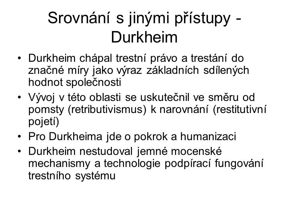 Srovnání s jinými přístupy - Durkheim