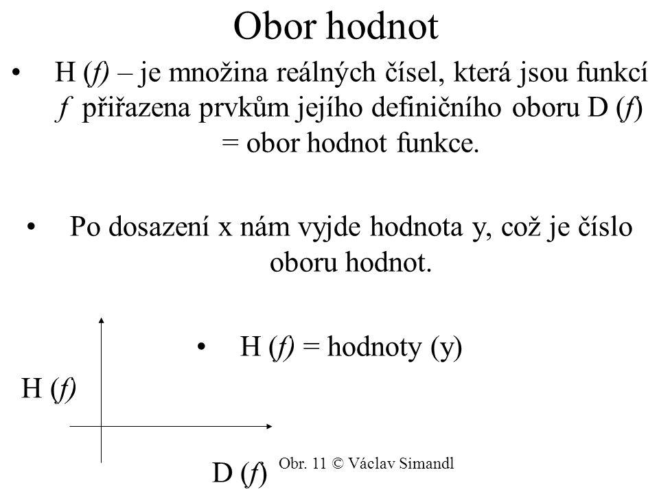 Po dosazení x nám vyjde hodnota y, což je číslo oboru hodnot.