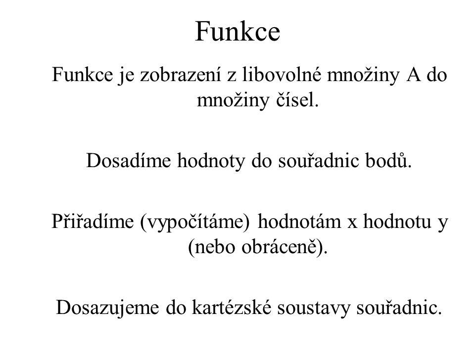 Funkce Funkce je zobrazení z libovolné množiny A do množiny čísel.