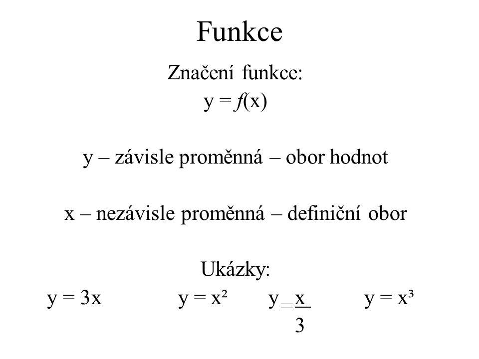 Funkce Značení funkce: y = f(x) y – závisle proměnná – obor hodnot