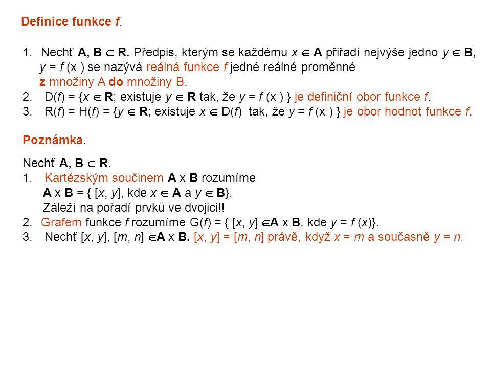Definice funkce f. Nechť A, B  R. Předpis, kterým se každému x  A přiřadí nejvýše jedno y  B,