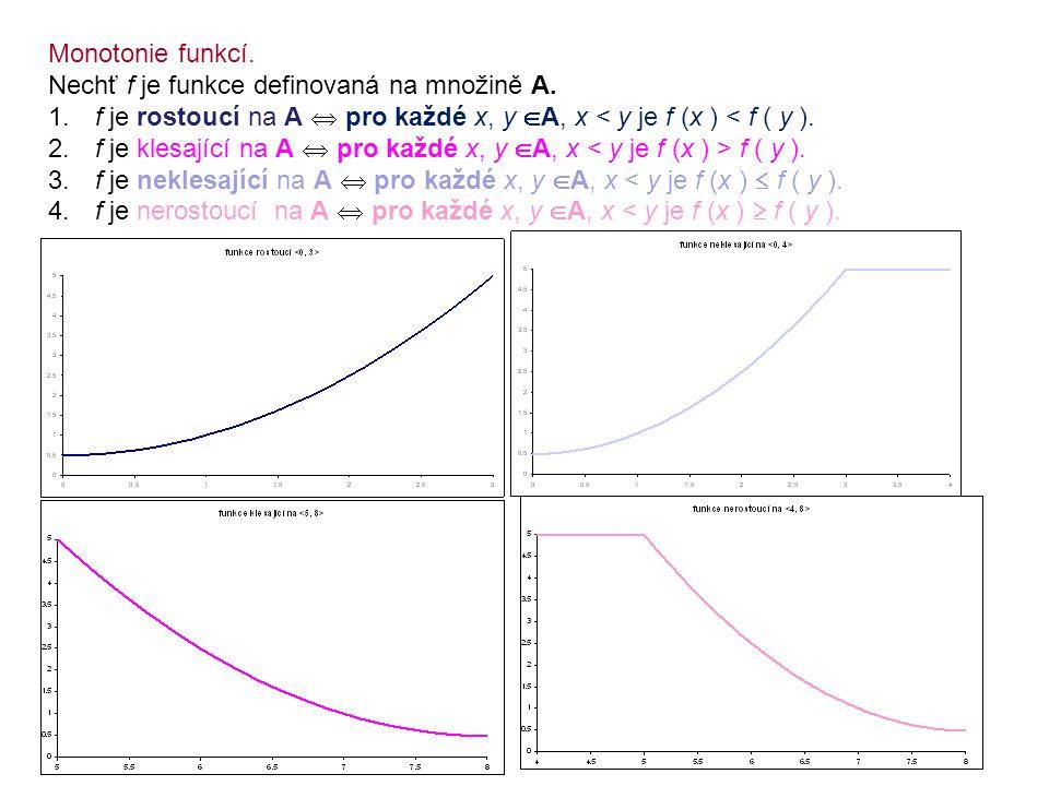 Monotonie funkcí. Nechť f je funkce definovaná na množině A. f je rostoucí na A  pro každé x, y A, x < y je f (x ) < f ( y ).