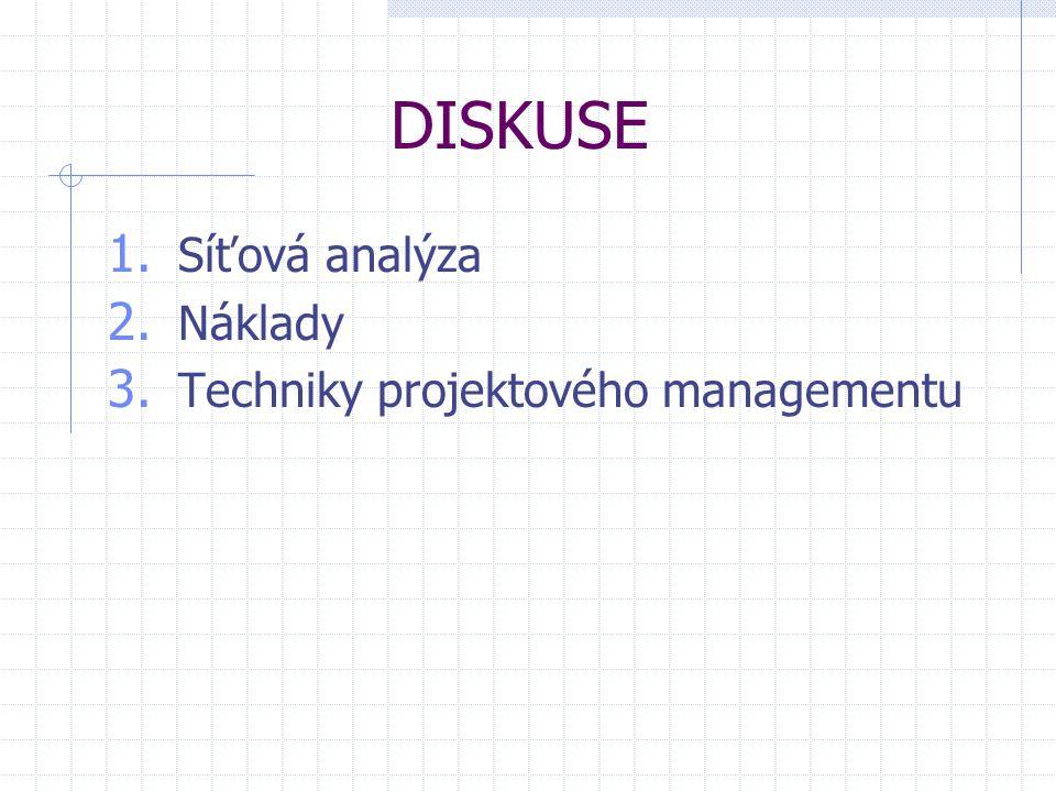 DISKUSE Síťová analýza Náklady Techniky projektového managementu