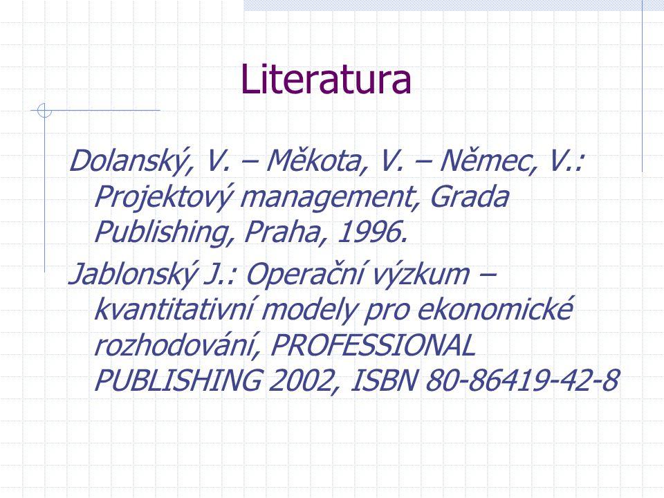 Literatura Dolanský, V. – Měkota, V. – Němec, V.: Projektový management, Grada Publishing, Praha, 1996.