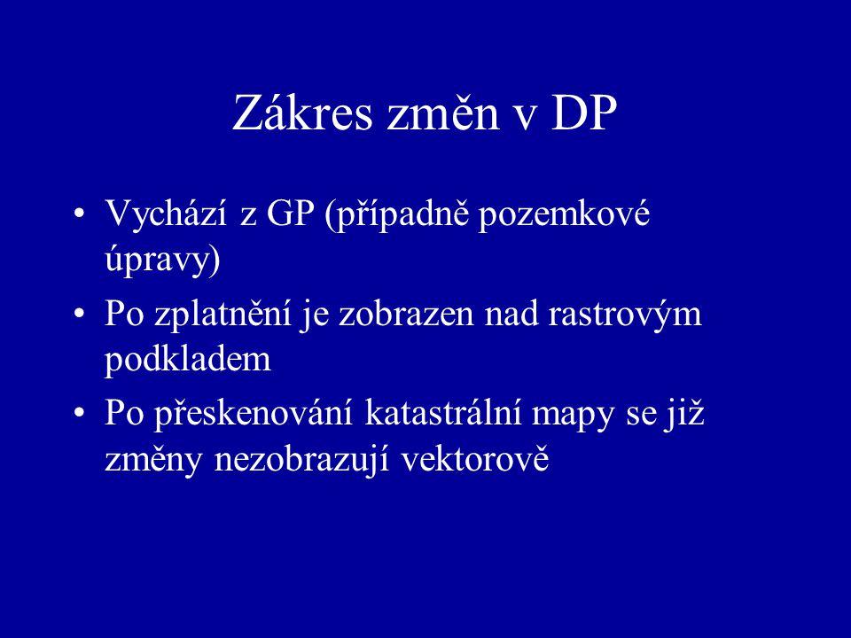 Zákres změn v DP Vychází z GP (případně pozemkové úpravy)