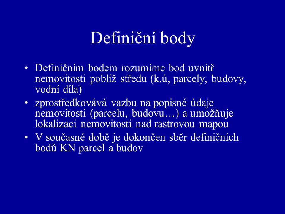 Definiční body Definičním bodem rozumíme bod uvnitř nemovitosti poblíž středu (k.ú, parcely, budovy, vodní díla)