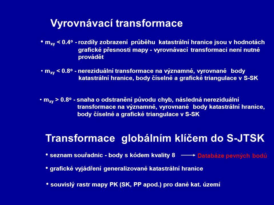 Vyrovnávací transformace Transformace globálním klíčem do S-JTSK