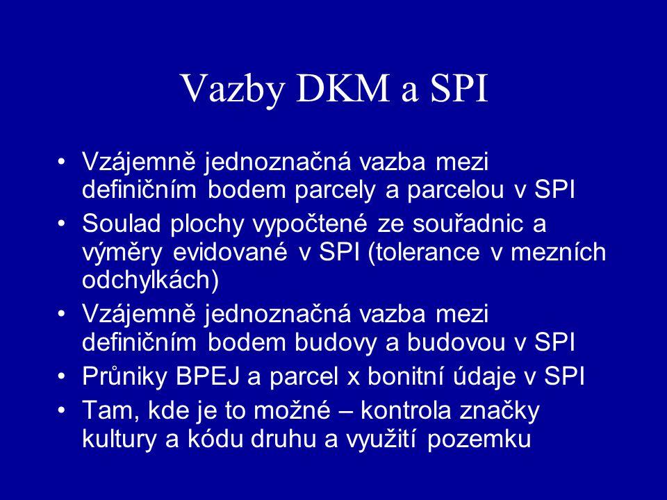 Vazby DKM a SPI Vzájemně jednoznačná vazba mezi definičním bodem parcely a parcelou v SPI.