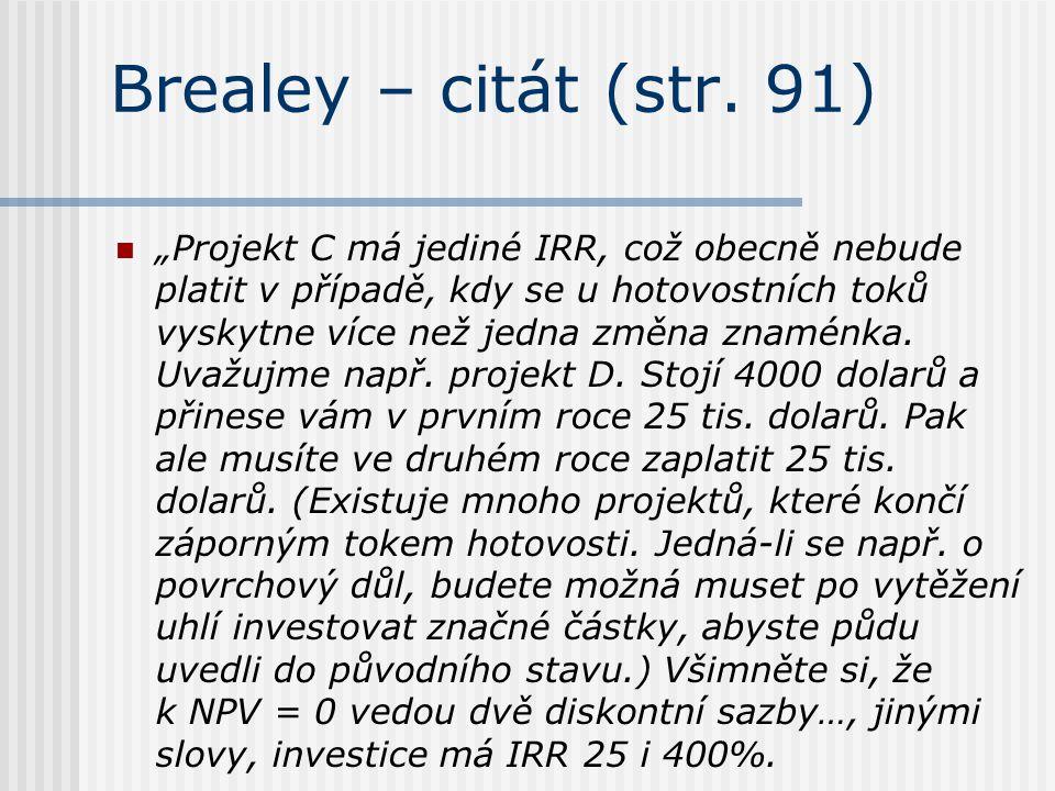 Brealey – citát (str. 91)