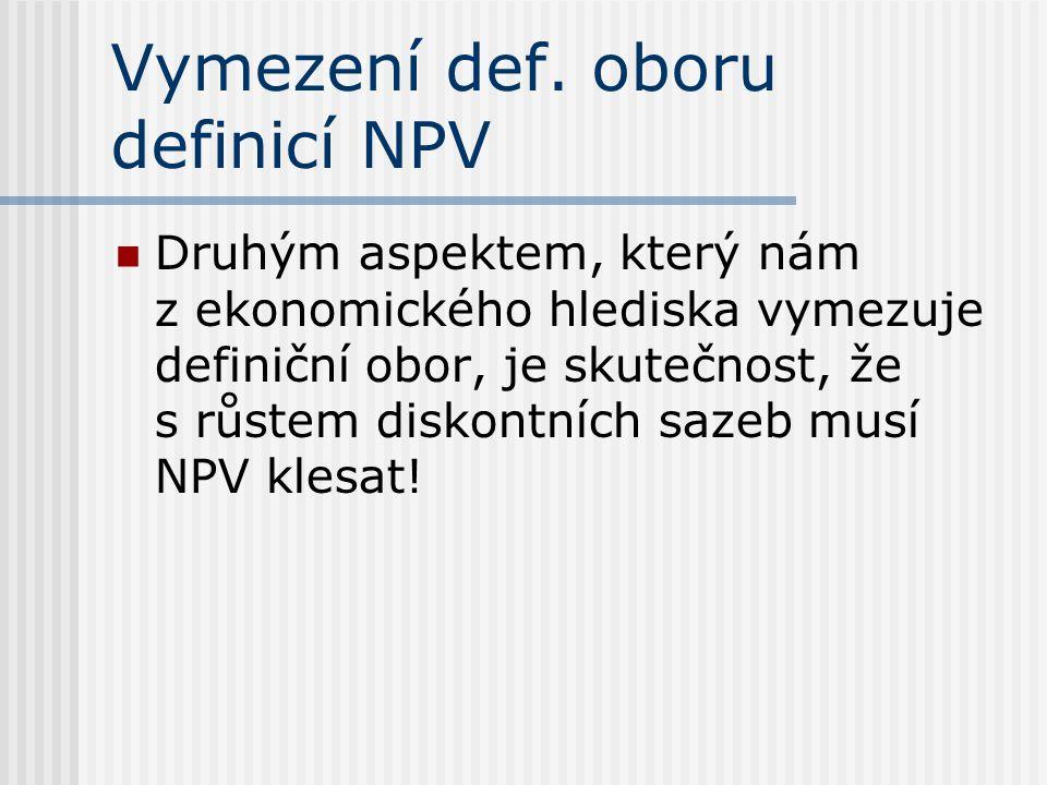 Vymezení def. oboru definicí NPV