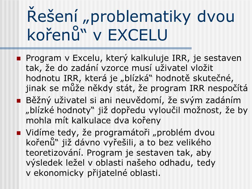 """Řešení """"problematiky dvou kořenů v EXCELU"""