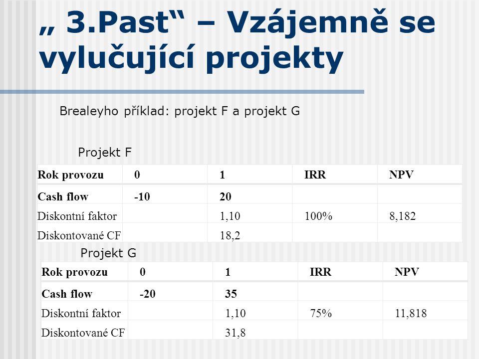 """"""" 3.Past – Vzájemně se vylučující projekty"""