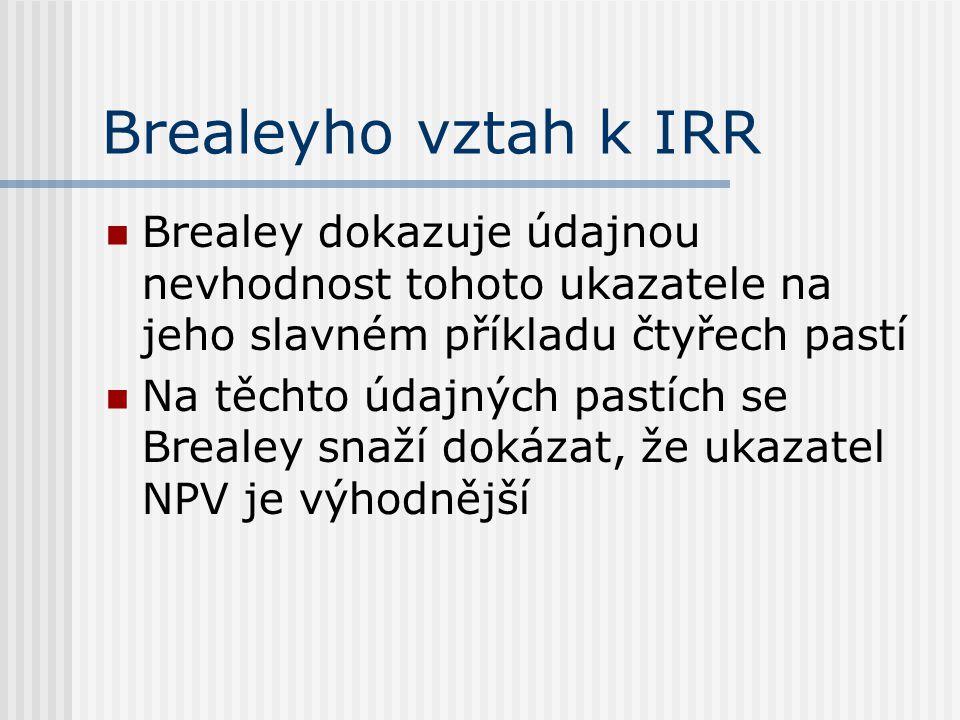 Brealeyho vztah k IRR Brealey dokazuje údajnou nevhodnost tohoto ukazatele na jeho slavném příkladu čtyřech pastí.