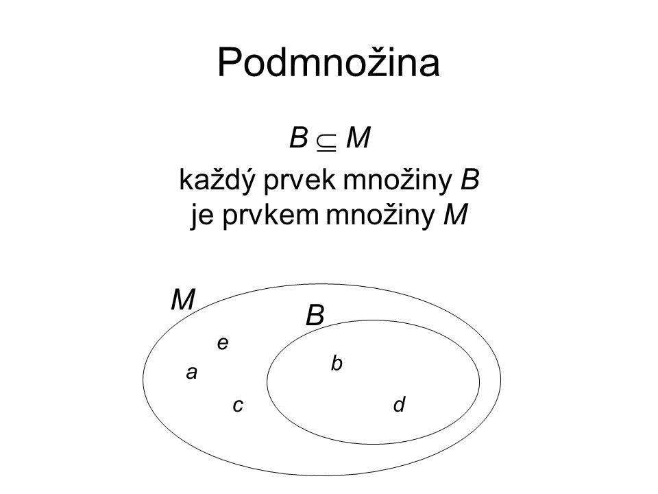 každý prvek množiny B je prvkem množiny M