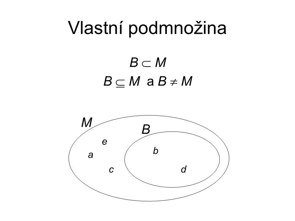 Vlastní podmnožina B  M B  M a B  M M B e b a c d