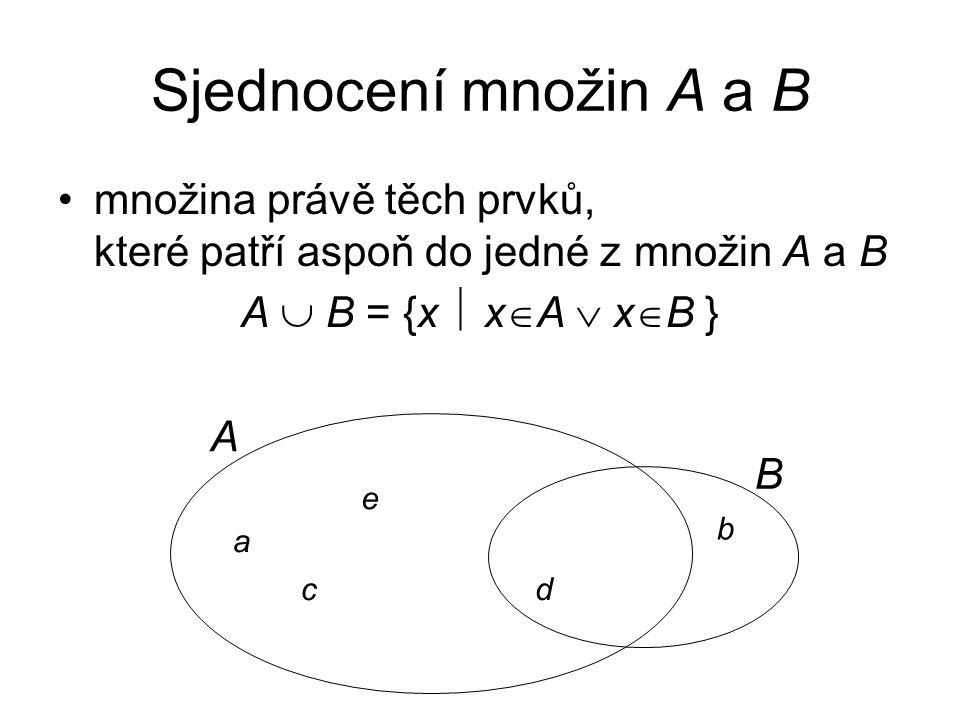 Sjednocení množin A a B množina právě těch prvků, které patří aspoň do jedné z množin A a B. A  B = {x  xA  xB }