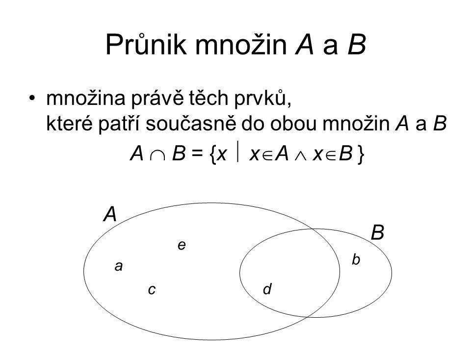 Průnik množin A a B množina právě těch prvků, které patří současně do obou množin A a B. A  B = {x  xA  xB }