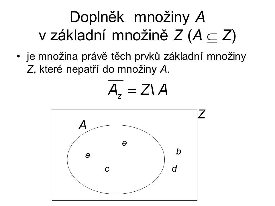 Doplněk množiny A v základní množině Z (A  Z)