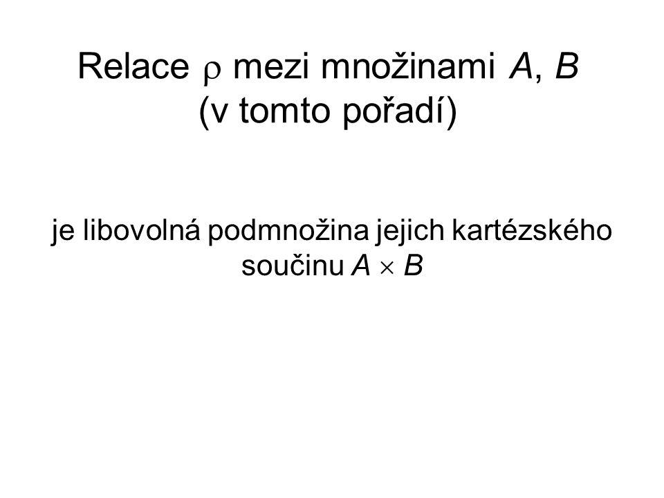 Relace  mezi množinami A, B (v tomto pořadí)