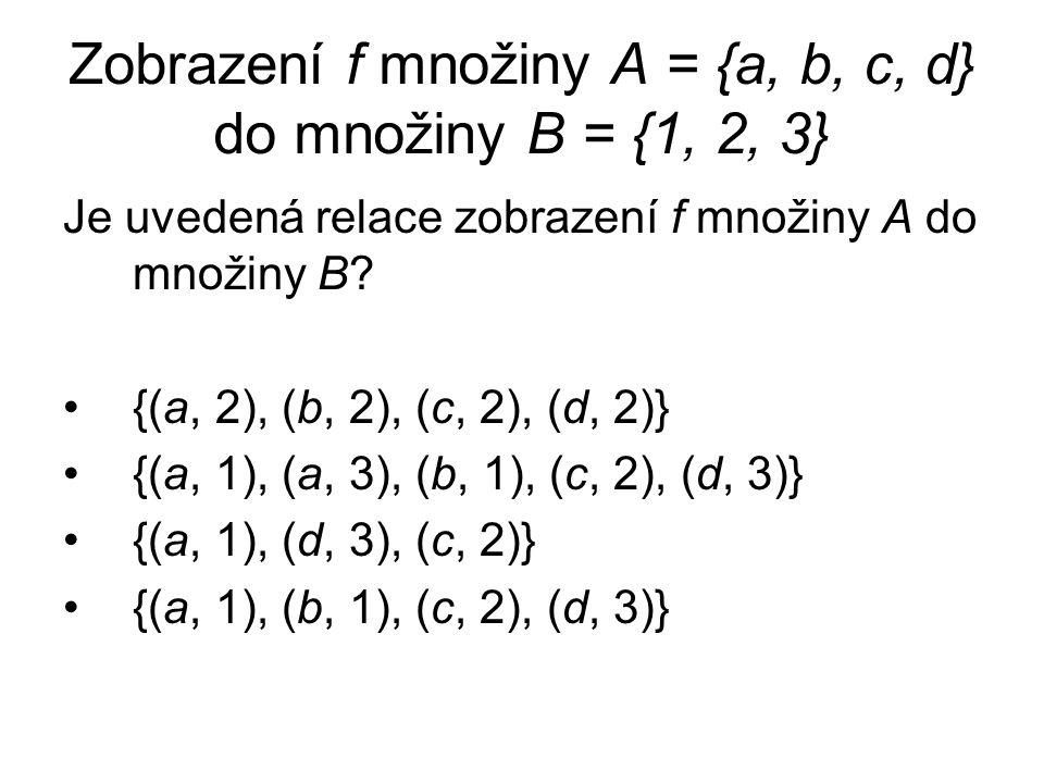 Zobrazení f množiny A = {a, b, c, d} do množiny B = {1, 2, 3}